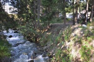 Camping Gravas mit entlang fliessendem Wildbach