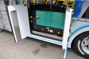 Helcvetic One Stromaggregat, versteck hinter zwei Türen