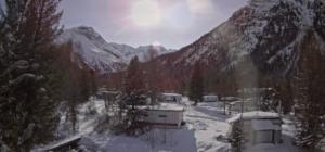 Schneebedeckter Camping Morteratsch