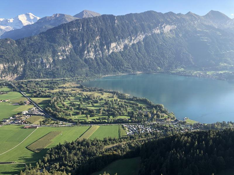 Blick auf Camping Alpenblick und Thunersee
